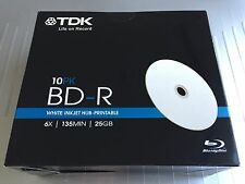 10 Discs TDK Blu Ray 6x BD-R 25GB Inkjet Hub Printable with SlimCase