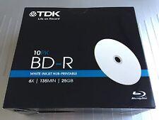 10 Discs TDK Blu Ray 6x BD-R 25GB Inkjet Hub Printable with SlimCase