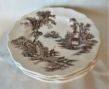"""Vintage Johnson Brothers """"The Old Mill"""" (4) Bread & Butter Plates 6 1/8"""""""