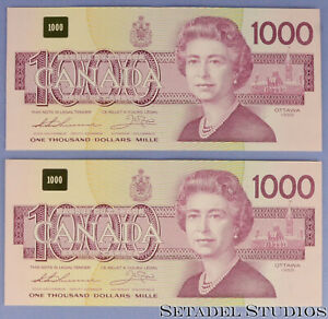 BANK OF CANADA 1988 $1000 BILL EKA1798564 EKA1798565 CONSECUTIVE BONIN THIESSEN