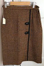 Superb Vintage 1950's Brown & Mustard Wool Pencil Skirt - Unused Old Stock
