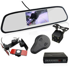 4.3'' LCD Car Rear View Mirror Monitor +Backup Reverse Camera +4 Parking Sensors