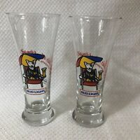 "Lot Of 2 1987 Spuds Mackenzie Bud Light Beer Glass 8"" In EUC Used For Display"
