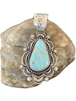 New Sterling Silver Blue Dry Creek Turquoise Pendant Navajo Pearl Necklace 295