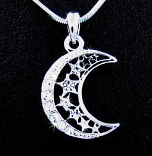 Stunning New Moon Stars Silver Tone Austrian Crystal Pendant Necklace Sky Wish