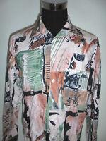 vintage VINCI 80s Hemd crazy pattern shirt swiss design oldschool Viskose L