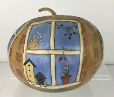 "Vtg Hand Painted Natural Gourd w Four Seasons Window Scenes OOAK 7.5"" diameter"