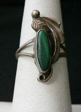 Vintage Marquise Malachite Sterling Silver Handmade Artisan Ring.  #322