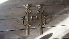 VINTAGE PAIR ANGEL CHERUB WALL SCONCES CANDLE HOLDERS 15 inches