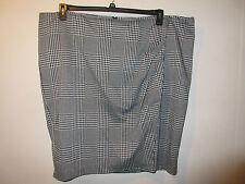 Skirt Size 28 3X PLUS Lane Bryant Black White Plaid Wrap Look Pencil NWT G1264