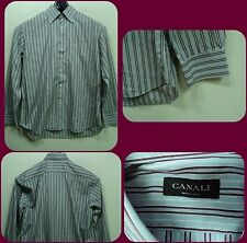 Men CANALI Dress shirt Striped size 44 - 17  1/2 Made in Italy