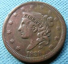 1838 US Matron Head Coronet Large Cent Old American Copper Penny Coin (DC)