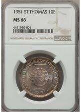 St. Thomas & Prince Isl 1951 10 Escudos Silver NGC  MS 66 GEM UNC