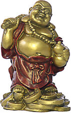 """Standing Happy Buddha Hotai Laughing on Coins Miniature 3.5""""H O-048GR"""