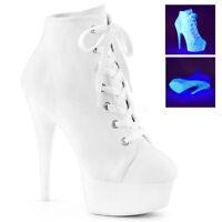 Pleaser DELIGHT-600SK-02 Women's White Canvas Neon Heels Platform Sneaker Boots