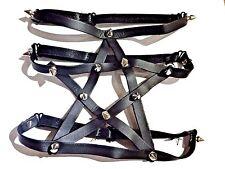 PENTAGRAM GARTER BELT black spikes studded arm thigh band PVC pentacle metal 3Z