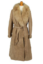 "Vintage Womens Sheepskin Leather Coat Warm Fur Lined Chest 40"" Brown - C2057"