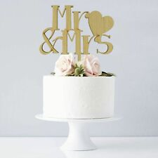 Wedding Cake Toppers Oak Wooden Rustic Mr & Mrs Cake Decorations Love Heart Gift