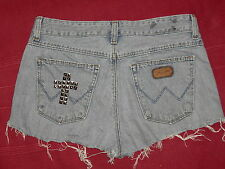 WRANGLER vintage customized studded faded denim cut off shorts hotpants 8 10