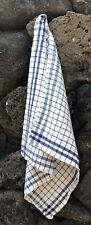 1 Vintage Linen & Cotton Square Towel / Napkin / Fabric Checks / Squares 22x23