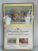 Vtg American Greetings Christmas CURRIER & IVES Winter Scene 16 Cards/Envelopes