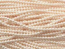 CREAM Czech glass round pearl beads - string of 110 beads - 4mm