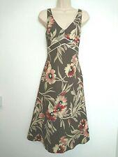 Neues AngebotGrundsätze Leinen Mischung Blumen Drucken V Hals/Rücken Kleid Größe 10 Sommer Cruise NWOT