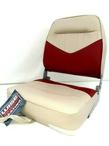 Wise #8WD418-803 Low Back Folding Boat Seat  Red/Sand