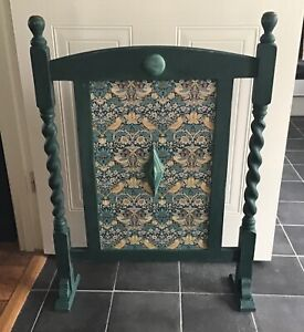 Upcycled wooden barley twist firescreen fireguard with William Morris decoupage