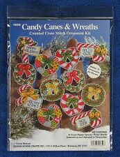 Christmas Cross Stitch Kit Candy Canes & Wreaths 12 Ornaments Plastic Canvas
