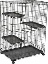 Nice Cat House/Cage 4 Levels 36 x 22 x 51 Inches Black Wire Cage on Wheels