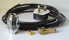 5x Chrome Switched Lamp Holder Kit BC Fitting 10mm Brass Thread 3 Metres Wire