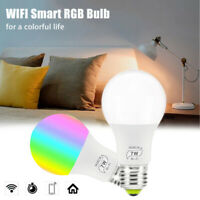 4pcs 7W Ampoule Connectée LED RGB WiFi Intelligente pour Alexa Google Home E27