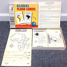 "Vintage 1958 Milton Bradley MB ""Global Flash Cards"" Geography Learning Game EX+"