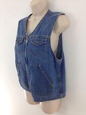 Liz Claiborne Womens M Blue Zip Front Work Sport Denim Vest