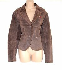 Women's Vintage H.I.S JEANS Fitted Brown 100% Leather Jacket Coat Blazer size L