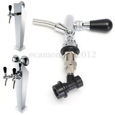 G5/8 Draft Beer Faucet Dispenser With Flow Controller Chrome Plating Shank Tap