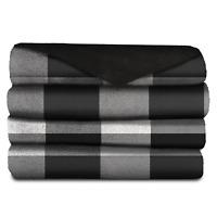 "Heated Blanket Microplush Throw Cozy 50"" x 60"" White Black Buffalo PLAID Remote"
