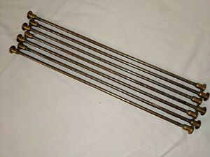 """LOT OF 7 Vtg Antique BRASS & Steel Carpet Runner Stair Rods For 12"""" Wide Carpet"""