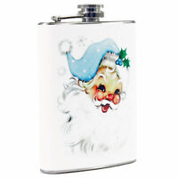 8 oz Retro Steel Pocket Flask Blue Santa Christmas Liquor Accessory Gift Display