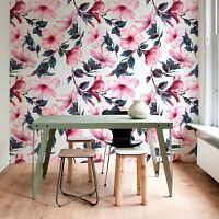 Non-Woven wallpaper Pink hibiscus Watercolor floral Tropical pattern flowers