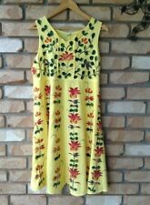Ladies Size Free, Yellow Paneled Sundress With Flowers & Embroidery