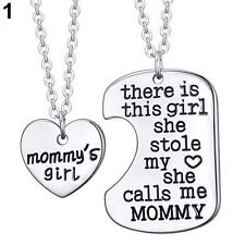 MOMMY'S GIRL 2 PIECE NECKLACE SET MOTHER DAUGHTER GIFT CHARM HEART PENDANT #KC5