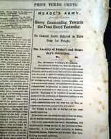 BATTLE OF MINE RUN Virginia General George G. Meade 1863 Civil War Newspaper