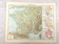 1894 Antique Map of France Physical Climate Relief Original 19th Century French