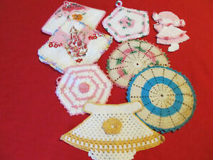 8 VTG Handmade pot holders-pads-mostly pink crocheted