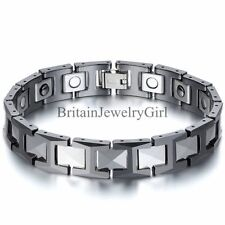 "12MM Silver Ceramic Black Tungsten Carbide Magnetic Men Linking Bracelet 8.3"""