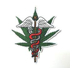 Medical Cannabis Marijuana Leaf Caduceus Patch Iron-On Embroidered Applique