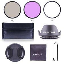 58MM UV CPL FLD Filter Kit + Lens Hood for DSLR SLR Canon Rebel 18-55MM