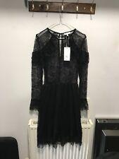 Almacén original de encaje de Chantilly Negro Vestido Talla 14 nuevo PVP £ 52